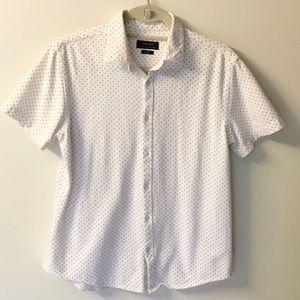 Zara Man Polka Dot Short Sleeve Button Down - L